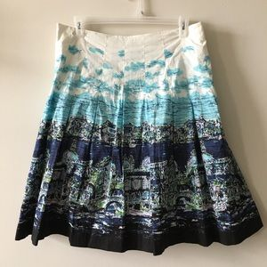 Talbots blue and white cotton pleated skirt 14